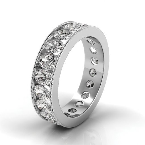 5 TCW Oval Diamond Channel Set Eternity Band in White Gold (F-G COLOR, VS2 CLARITY)