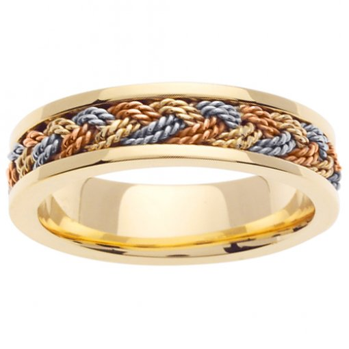Tri-Color Double Cord Hand Braided Wedding Ring 5mm