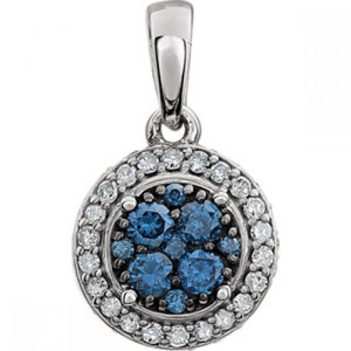 14Kt White CTW Diamond Blue & White Halo Pendant