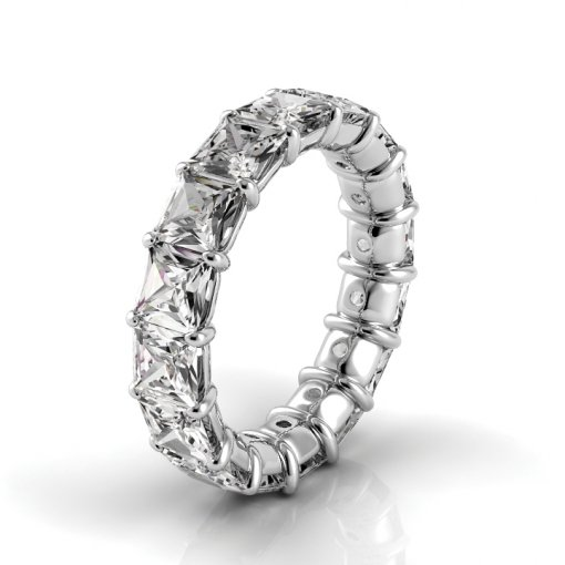 7.5 TCW Princess Diamond Petite Prong Set Eternity Band in Platinum (F-G COLOR, VS2 CLARITY)