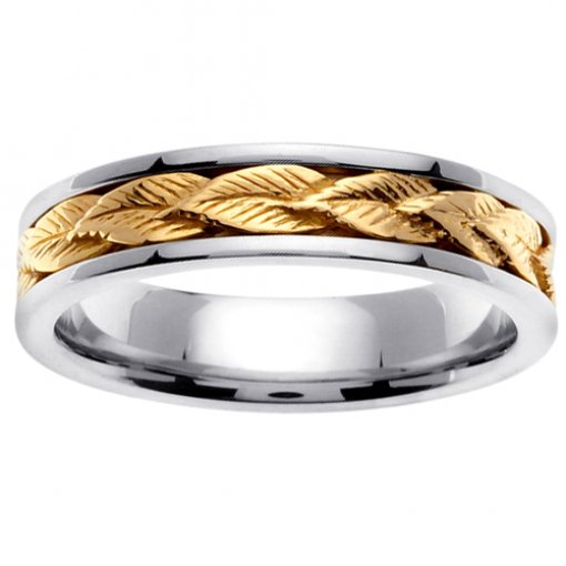 Two Tone Gold Antique Design Leaf Inlay Wedding Band 4mm