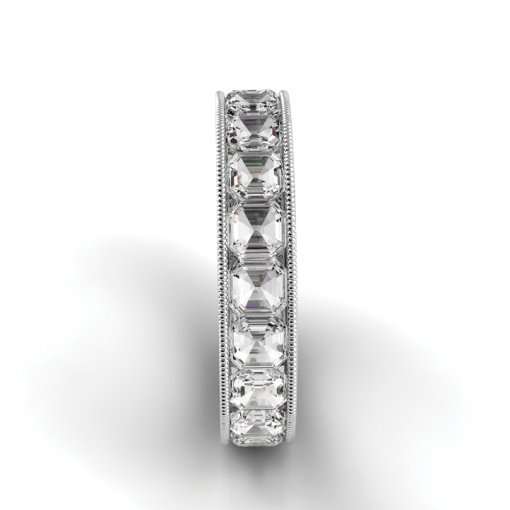 3.5 TCW Asscher Diamond Channel Set Eternity Band in White Gold (F-G COLOR, VS2 CLARITY)