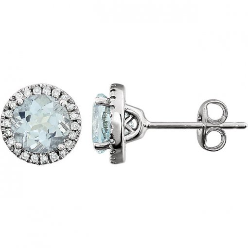 0.125ct Round 14kt White Aquamarine Diamond Earrings