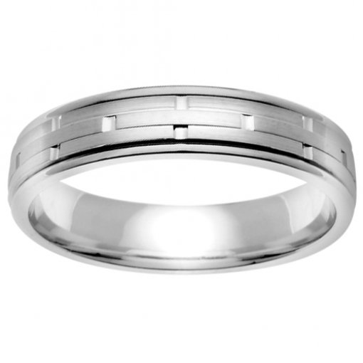 White Gold 3 Row Brick Matte Wedding Band 4mm
