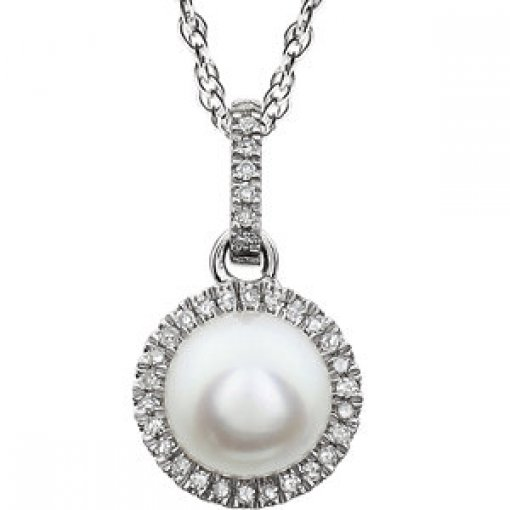 0.1ct Round 14kt White Freshwater Cultured Pearl  Diamond Pendant