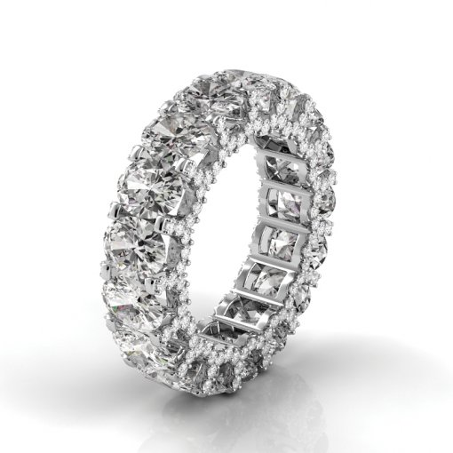 9 TCW Oval Diamond U-Shape Pave Set Eternity Band in White Gold (F-G COLOR, VS2 CLARITY)