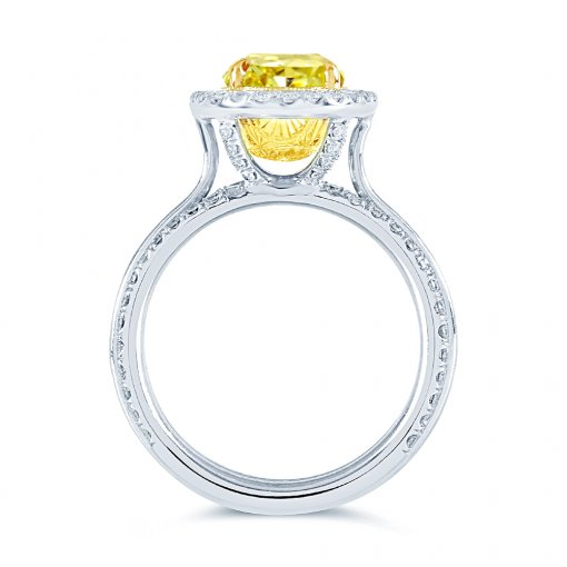 4.02ct GIA Oval 14K White Gold Halo Engagement Ring Fancy Intense Yellow/ (2125360997)