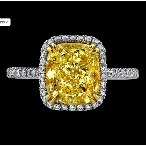 3.01ct GIA Cushion 18K Pave Diamond Halo Engagement Ring Fancy/VS1