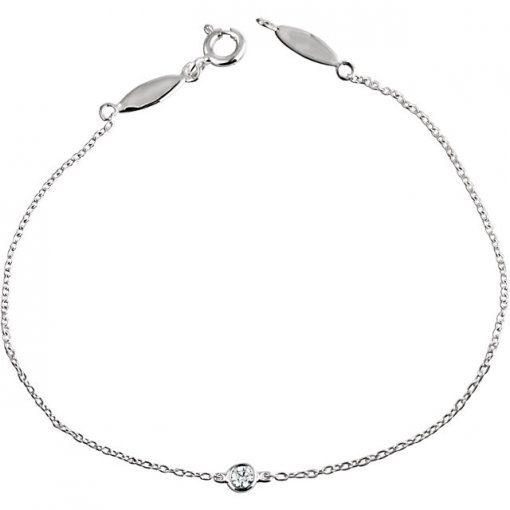 0.08ct Round 14K White Gold Diamond Bracelet