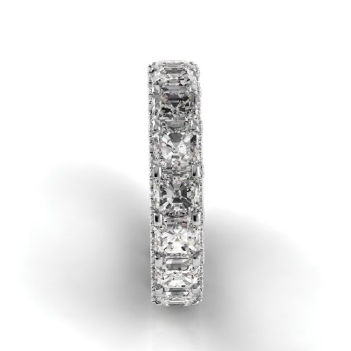 6.5 TCW Asscher Diamond U-Shape Pave Set Eternity Band in White Gold (F-G COLOR, VS2 CLARITY)