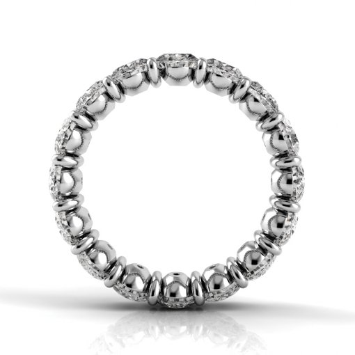 2.5 TCW Oval Diamond Petite Prong Set Eternity Band in White Gold (F-G COLOR, VS2 CLARITY)