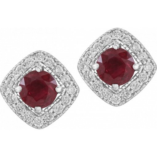 0.91ctw Red Round Cut Ruby Gemstone Diamond Micro Pave Earrings