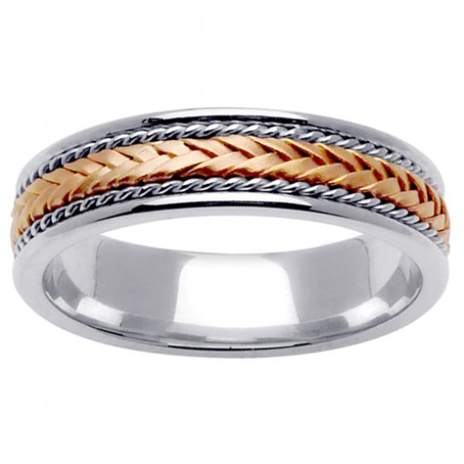 Two Tone Gold Narrow Strand Weave Wedding Ring 5mm