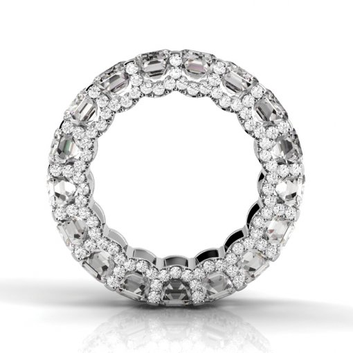 6 TCW Emerald Diamond U-Shape Pave Set Eternity Band in White Gold (F-G COLOR, VS2 CLARITY)