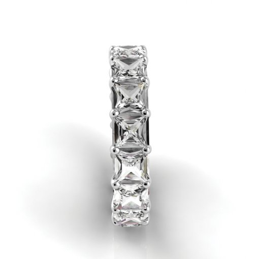5 TCW Princess Diamond U-Prong Set Eternity Band in White Gold (F-G COLOR, VS2 CLARITY)