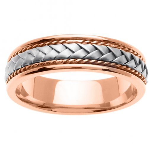 Two Tone Gold Braided and Twist Cord Wedding Ring 5mm