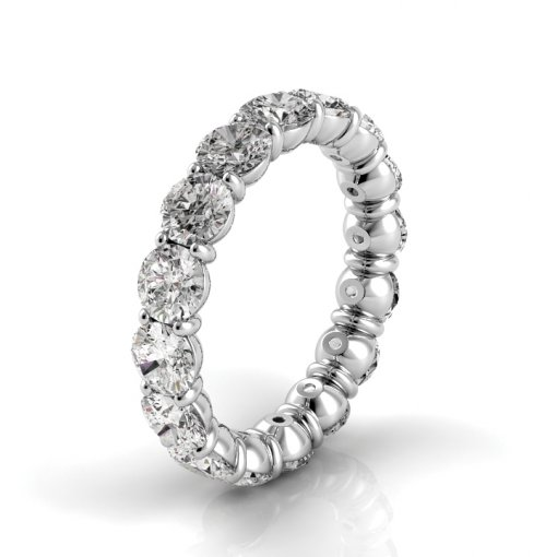 2.5 TCW Round Diamond Petite Prong Set Eternity Band in Platinum (G-H COLOR, VS2-SI1 CLARITY)