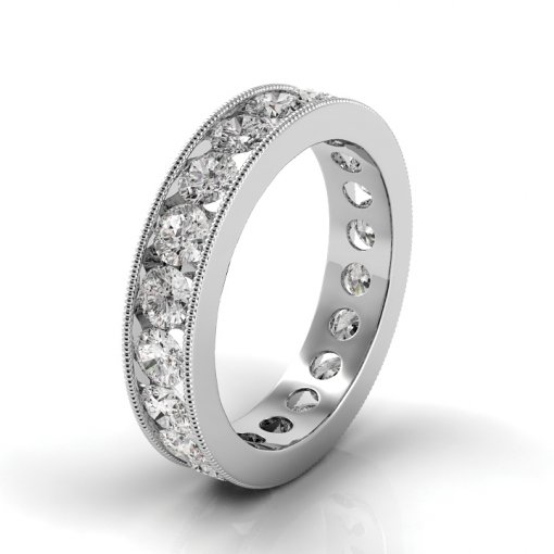 5.5 TCW Round Diamond Channel Set Eternity Band in White Gold (G-H COLOR, VS2 CLARITY)
