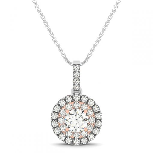 Two Tone Double Round Halo Diamond Pave Drop Pendant (0.515 CTW)