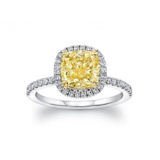1.3CT CUSHION Fancy Yellow Diamond Engagement Ring VS2 clarity (Single shank)