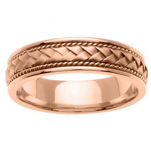 Rose Gold Cord and Braided Wedding Band 5mm