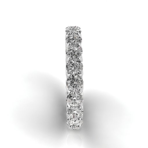 3 TCW Round Diamond Trellis Set Eternity Band in White Gold (F-G COLOR, VS2 CLARITY)