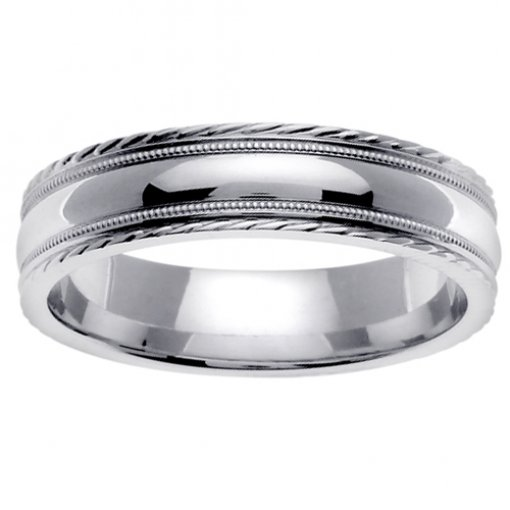 White Gold Design Edge Milgrain Wedding Band 4mm