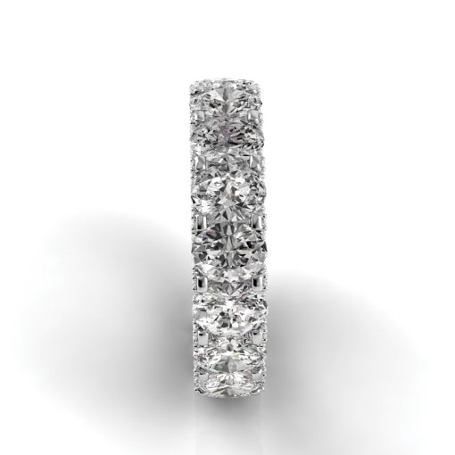 6.5 TCW Oval Diamond U-Shape Pave Set Eternity Band in White Gold (F-G COLOR, VS2 CLARITY)