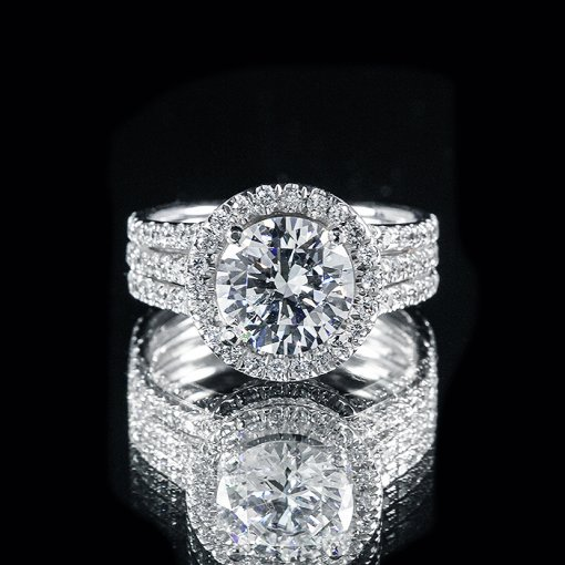 2.61ct GIA Round 18K Three Row Diamond Pave Halo Engagement Ring H/SI1