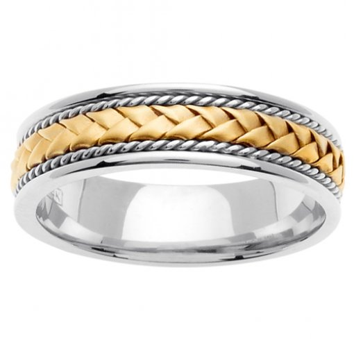 Braid & Cord Inlay Two Tone Gold Wedding Ring 5mm