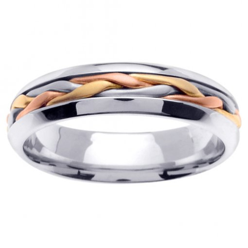 Tri Color Gold Long Braid Inlay Wedding Ring 4mm