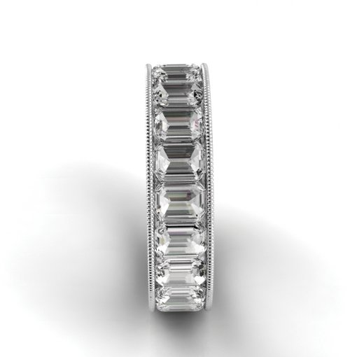 5.5 TCW Emerald Diamond Channel Set Eternity Band in White Gold (F-G COLOR, VS2 CLARITY)