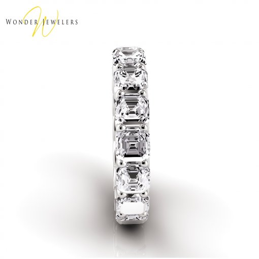 4.0 TCW Asscher Diamond U-Prong Set Eternity Band in Platinum (G-H COLOR, VS2-SI1 CLARITY)
