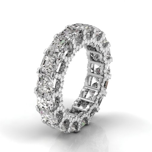 7 TCW Asscher Diamond U-Shape Pave Set Eternity Band in White Gold (F-G COLOR, VS2 CLARITY)