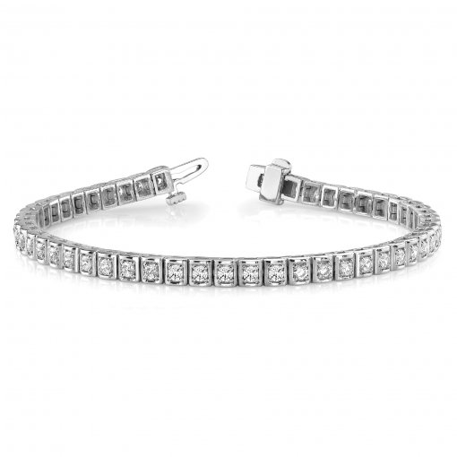 2.00 CT Tennis Bracelet with Prong Set Round Diamonds in 14K White Gold (G-H VS2)