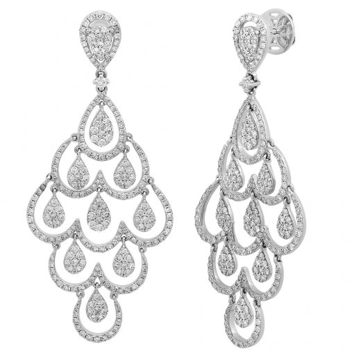 3.28CT  Round 14KW 3.28CTW Diamond (Fg/I1-I2)Dangle Earr. F-G/I1-I2 ()