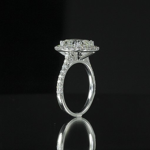 3.15ct GIA  18K White Gold Cushion Diamond Engagement Ring H/VS1