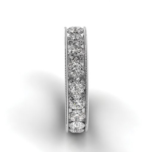 6.5 TCW Round Diamond Channel Set Eternity Band in White Gold (G-H COLOR, VS2 CLARITY)