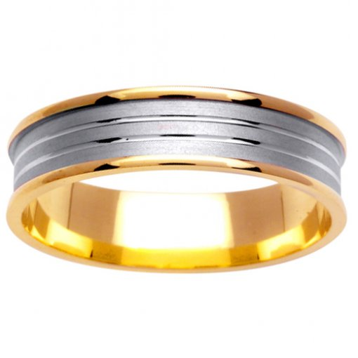 Two Tone Gold Carved and Textured Design Rounded Edge Wedding Band 4.5mm