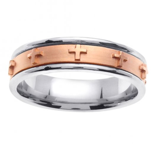 Two Tone Gold Christian Cross Wedding Band 4mm