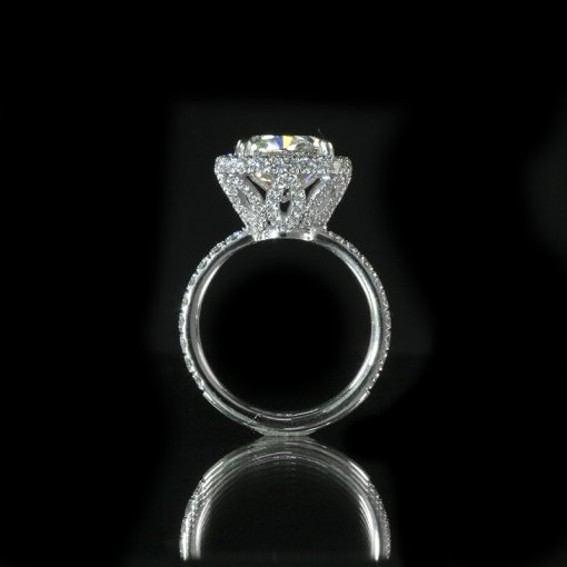 2.8ct GIA  18K White Gold Cushion Diamond Engagement Ring G/SI2
