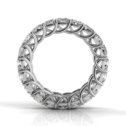 6.5 TCW Emerald Diamond Trellis Set Eternity Band in White Gold (H-I COLOR, VS2-SI1 CLARITY)