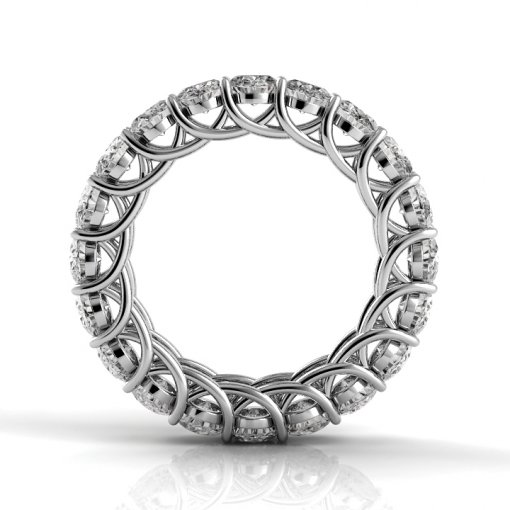 7 TCW Oval Diamond Trellis Set Eternity Band in White Gold (G-H COLOR, VS2-SI1 CLARITY)