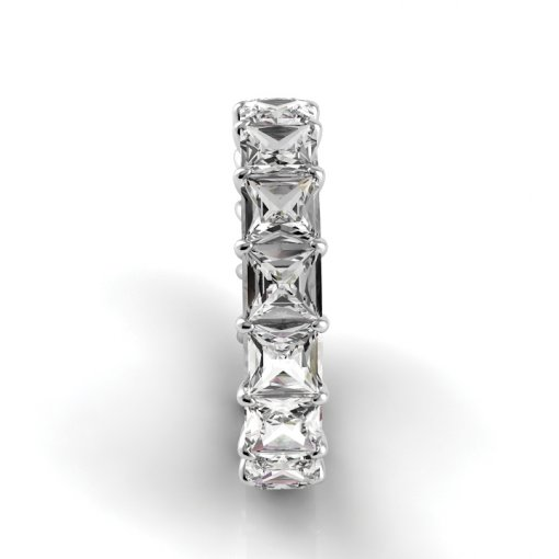 5.0 TCW Princess Diamond Petite Prong Set Eternity Band in Platinum (F-G COLOR, VS2 CLARITY)