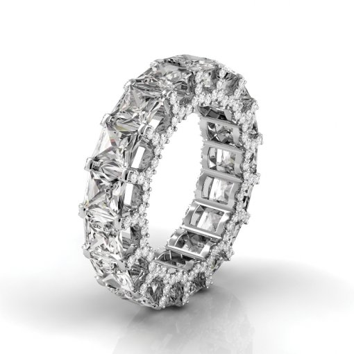 4 TCW Princess Diamond U-Shape Pave Set Eternity Band in White Gold (F-G COLOR, VS2 CLARITY)