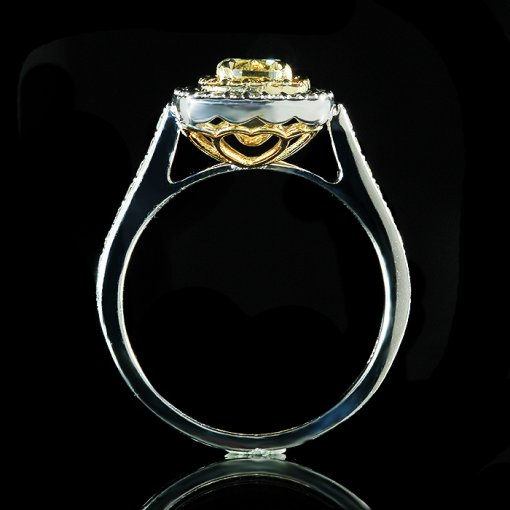 1.28ct GIA Cushion 14K Two Tone Double Halo Engagement Ring Fancy Yellow/SI2 (1162358475)