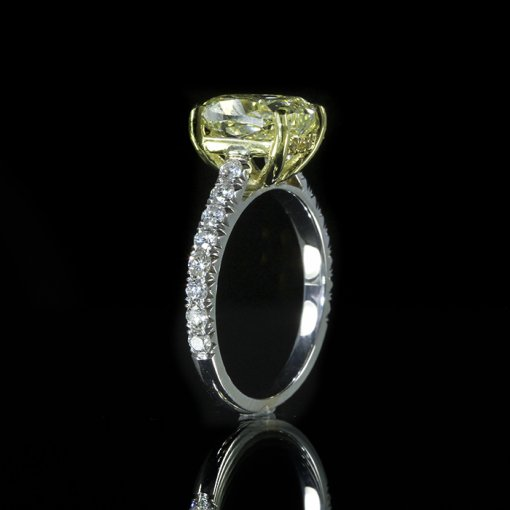 2.68ct GIA Oval 18K Two Tone Engagement Ring Fancy Yellow/VS1 (2155777954)