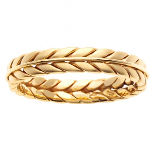Yellow Gold Hand Braided Wire Wedding Ring 4mm