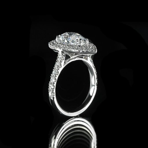 3.35ct GIA Pear 18K Double Halo Diamond Pave Engagement Ring E/SI1