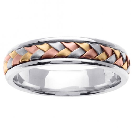 Tri-Color Gold Hand Braided Wedding Band 4.5mm